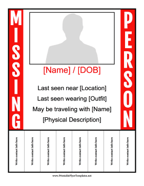 Missing Person Tear-Off Tabs Printable Template