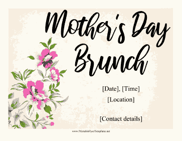 Mothers Day Brunch Flyer Printable Template