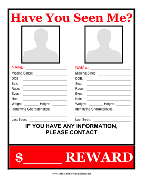 Multiple Missing Persons Flyer Reward Printable Template