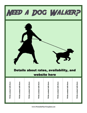 Need A Dog Walker Flyer Printable Template