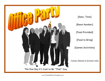 Office Party Flyer Printable Template