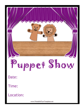 Puppet Show Flyer Printable Template