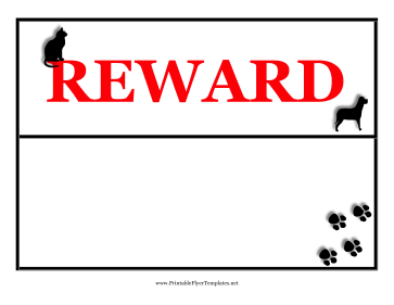 Reward Lost Pet Flyer Printable Template