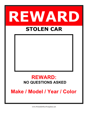 Reward Stolen Car Flyer Printable Template