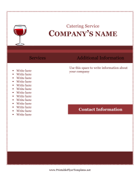 Sample Flyer For Catering Printable Template