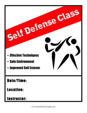 Self Defense Class Printable Template