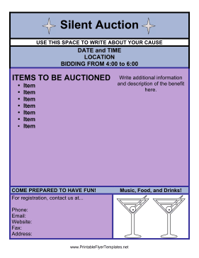 silent auction program template - silent auction flyer