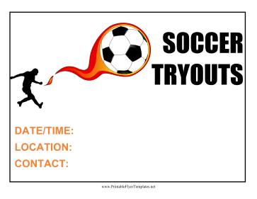 Soccer Tryouts Flyer Printable Template
