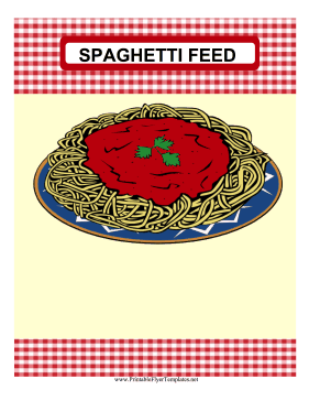 Spaghetti Feed Fundraiser Flyer Printable Template