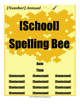 Spelling Bee Flyer Printable Template