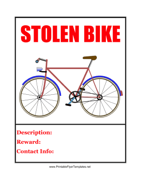 Stolen Bike Printable Template