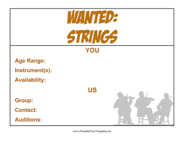 Strings Wanted Flyer Printable Template
