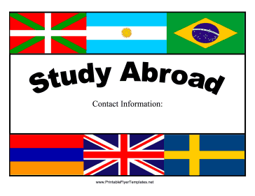 Colorful Study Abroad Flyer Printable Template