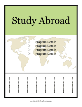 Study Abroad Flyer Printable Template