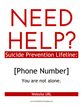 Suicide Prevention Flyer Printable Template