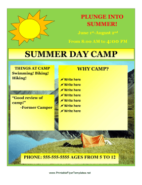 Summer Camp Flyer Printable Template