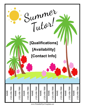 Summer Tutor Flyer Printable Template