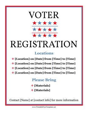 Voter Registration Drive Printable Template