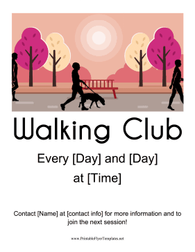 Walking Club Flyer Printable Template
