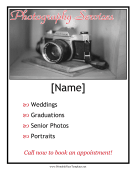 Photography Services Flyer Printable Template